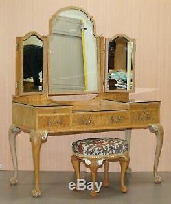 Gillows Vintage Coiffeuse & Tabouret Ornement Claw & Ball Pieds Vue Partielle Suite