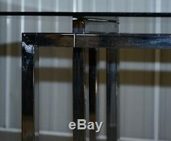Grand 8 -10 Personne Milieu Du Siècle Moderne Pieff Mandarin En Verre Chrome Table À Manger