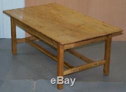 Grand Large Vintage Ferme Réfectoire Table À Manger Avec Twin Brancards En Pin