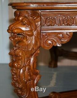 Grand Le Seigneur Table Raffles Lion Bureau Pour Trois Tiroirs En Bois Sculpté À Manger