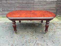 Grand Victorian Style Régence Brésilien Mahogany Table Pro Français Poli