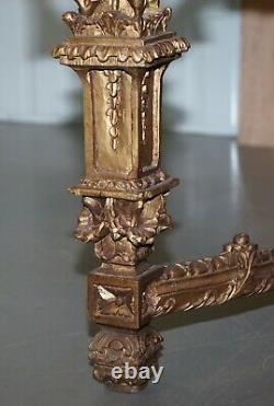 Grande Importante Table Centrale En Bois Doré Sculpté Continetal Du Xixe Siècle Et Table Centrale En Marbre