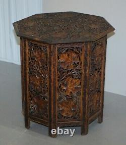 Grande Main Sculptée Birmane Rosewood Antique Octogonale Side End Lamp Wine Table