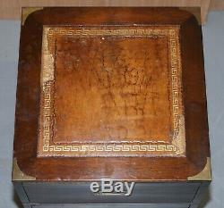 Harrods Londres Kennedy Campagne Militaire Side Table Tiroirs Paire En Cuir Brun