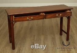 Henkel Harris Chippendale Style Acajou 2 Table Console Tiroir