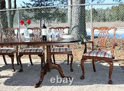 Henkel Harris Mahogany Dining Table Councill Set 6 Ball Claw Chippendale Chairs