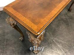 Henredon Acajou Chippendale Console Sofa Table Avec Poilu Patte Pieds