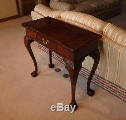 Henredon Rittenhouse Square Acajou Chippendale Console Table-ball Dans Claw-ex