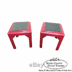Hollywood Regency Chinois Chippendale Laqué Mirrored Top End Tables