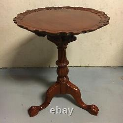 Imperial Ahogany Chippendale Style Thé Sculpté Table Pie Crust Ball & Griffe