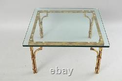 Italien Or Gilt Fer Et Verre Faux Bamboo Square Table De Café Hollywood Regency