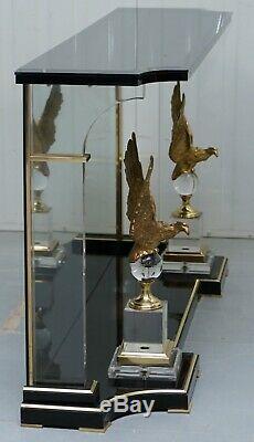 Jolie Console Vintage Rare En Lucite Avec Des Aigles Bronzés Très Décoratifs