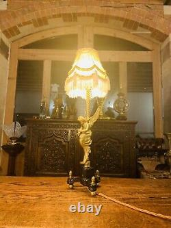 Lampe De Table Dorée D'ange De Laiton, Chérubin Antique