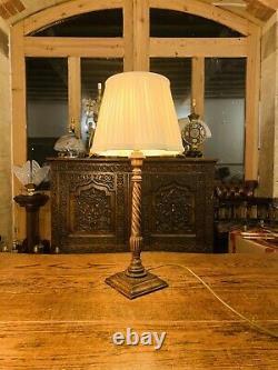 Lampe De Table Sculptée En Chêne Anglais Antique, Lampe Chandeliers De Style Élisabéthain