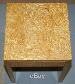 Lampe Superbe Côté Bois Satiné Burr Table Avec Tiroir Simple Vue Partielle Grande Suite