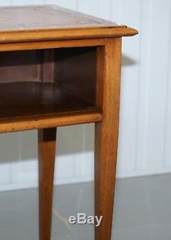 Lampe Vintage Lumière Acajou Side Fin Vin Bureau Table Avec Bonnie En Cuir