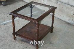 Lane MID Century Walnut 2 Tier Chinese Chippendale Bamboo Glass Caned Side Table