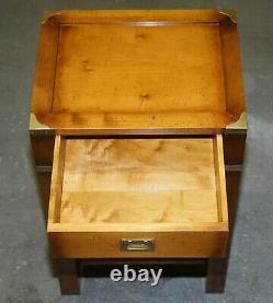 Lovely Very Tall Vintage Yew Wood Military Campaign Side End Lamp Wine Table