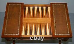 Lovely Vintage Français Dicectoire Jeux Bureau De Table Chess Backgammon Brown Leather