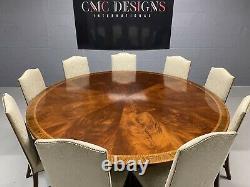 MCC 7.11 Superbe Acajou Circulaire De Flame Sunburst Grande Table À Manger