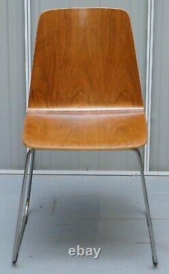 MID Century Modern Bent Contreplaqué Table À Manger Et Quatre Chaises Avec Bases Chromées