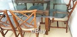 MID Century Modern En Bambou Chinois Chippendale Set De Salle À Manger Table 6 Chaises Wow