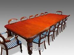Magnifique 12 Pieds, 1831-1901, Grande Table Acajou Cubaine Victorienne Anglaise