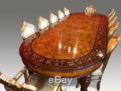 Magnifique Grand Table À Manger En Marqueterie De Ronce De Noyer, 12,5 Pieds, Poli Français