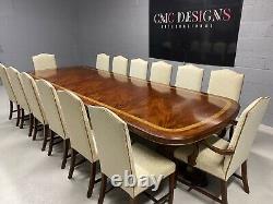 Magnifique Piédestal CMC 12ft Grand Style Regency Table En Acajou Brésilien