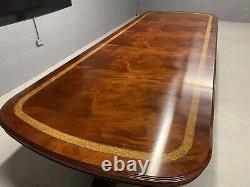 Magnifique Piédestal CMC 12ft Grand Style Regency Table En Acajou Brésilien Set
