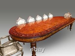 Magnifique Table À Manger CMC Burr Walnut Marquetry Range Pro Français Polie