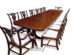Magnifique Table À Manger Triple Guéridon De Style Régence En Acajou Brésilien