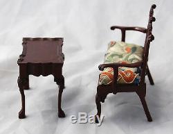 Maison De Poupée Miniature Artisan Agneau Chippendale Canapé Table À Thé Broderie Chinoise