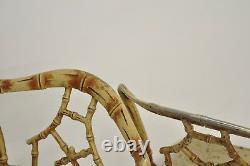 Metal Faux Bamboo Chinese Chippendale 5 Pc Ensemble De Salle À Manger 4 Chaises Table Ronde En Verre