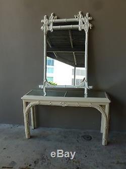 Miroir Et Console Chinois Chippendale Vintage De Style Palm Beach Datant Des Années 70
