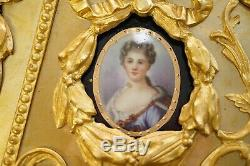 Napoléon III Style Louis XVI En Bronze Doré Et Porcelaine Plaque Sevres Centre Table