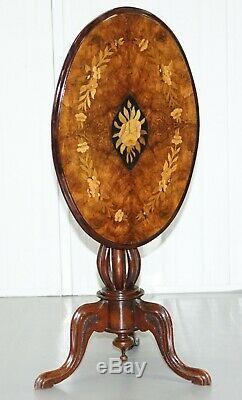 Noyer Victorien Et Marqueterie Marqueterie Tilt Top Ovale Side Table Bulbeuse Socle