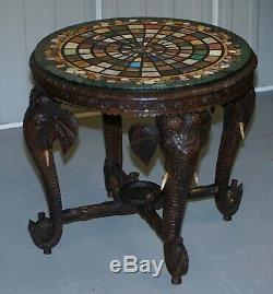 Occasional Table Birmane Sculpté À La Main Elephant Pietra Dura Spécimen Marble Top