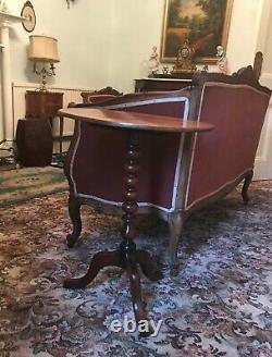 Old Antique Victorian C. 1840 Tilt Dessus Mahogany Wine Side Bobbin Turned Table