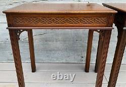 Paire Antique De Kittinger Chinois Chippendale Mahogany Side Tea Tables C. 1890