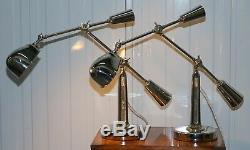 Paire De £ 2150 Ralph Lauren Articulé Rrp Boom Arm Lampes De Table Poli Nickle