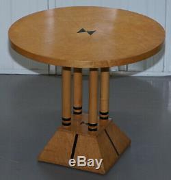 Paire De Burr Satinwood Tables Rondes Côté Quatre Piliers De Base Style Biedermeier
