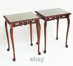 Paire De Chippendale En Acajou Sculpté Side Tables D'appoint 6302