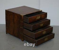 Paire De Circa 1900 Anglo Indian Military Campaign Chests Of Drawers Side Tables