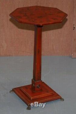 Paire De Circa 1940 Rouge Laqué Chinois Chinoiserie De La Lampe À Vin Fin Tables