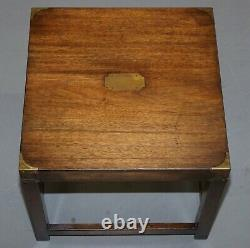 Paire De Harrods R. E. H Kennedy Mahogany Military Campaign Side End Lamp Tables