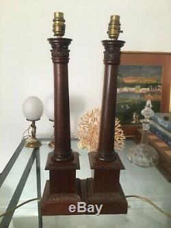 Paire De Lampes Handsome Table Haute De 55cm Néo-classique En Bois Dur, Années 1960 À 1980