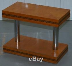 Paire De MID Siècle Moderne Chromé Et Satinwood Side Tables End Lampe À Vin