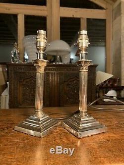 Paire De Piliers Corinthian Argent Plaqué Nelsons Colonne Lampe De Table