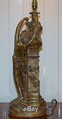 Paire De Style Vintage Maiden Seducing Zeus Statue Lampes De Table Joliment Décoratifs